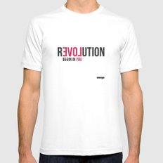 Revolution MEDIUM White Mens Fitted Tee
