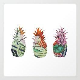 3 pineapples fabric Art Print