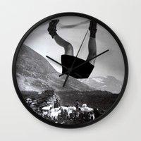 velvet underground Wall Clocks featuring Underground by Kristina Haritonova