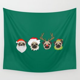 Christmas Pugs Wall Tapestry