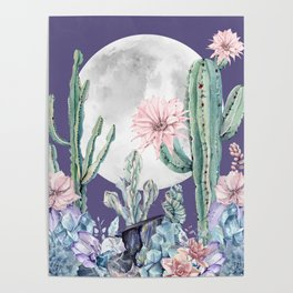 Desert Cactus Full Moon Succulent Garden on Purple Poster