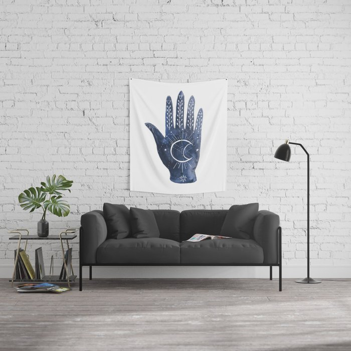 A Good Outlook Palmistry Illustration  Wall Tapestry