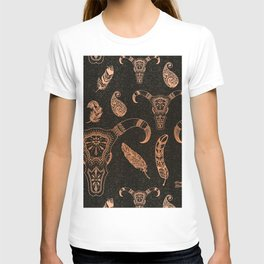 Elegant cow skeleton with feathers, pattern T-shirt