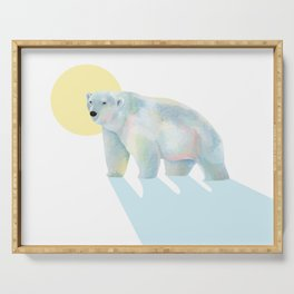 Ice bear in sunrise Serving Tray