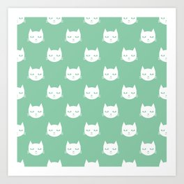 Cat minimal illustration pet cats head drawing digital pattern mint and white nursery art Art Print