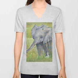 Baby Elephant  with birds Unisex V-Neck