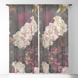 Vintage & Shabby Chic - Midnight Rose and Peony Garden Sheer Curtain