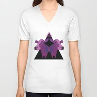 cows V-neck T-shirts featuring Psychadelic cows by Lisa Hamberg
