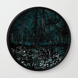 Dark Teal Van Gogh Trees & Underwood Wall Clock