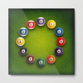 Billiards Snooker Novelty Clock Metal Print