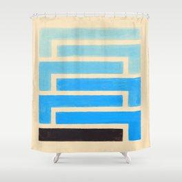 Baby Blue Geometric Pattern Shower Curtain