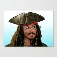 jack sparrow Canvas Prints featuring Jack Sparrow by San Fernandez