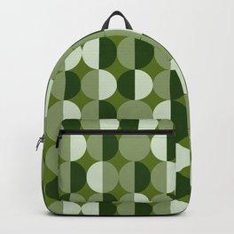 Retro circles grid green Backpack