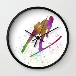 Ski jump in watercolor 03 Wall Clock