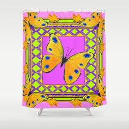 Decorative Golden Yellow Spotted Butterflies Pink Art Shower Curtain