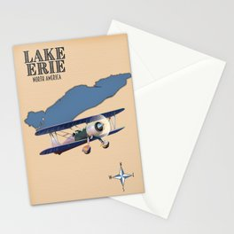 Lake Erie vintage style map Stationery Cards