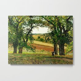 Chestnut Trees At Osny 1873 By Camille Pissarro | Reproduction | Impressionism Painter Metal Print