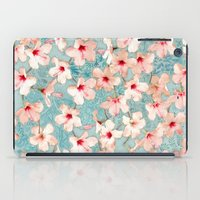 bedding iPad Cases featuring Shabby Chic Hibiscus Patchwork Pattern in Peach & Mint by micklyn