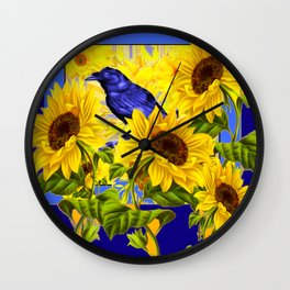 ARTISTIC BLUE CROW SUNFLOWERS CONCEPT Wall Clock