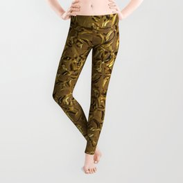 Sparkling Metal Structure, golden Leggings