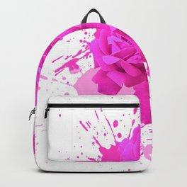 CERISE PINK ROSE PATTERN WATERCOLOR SPLATTER Backpack