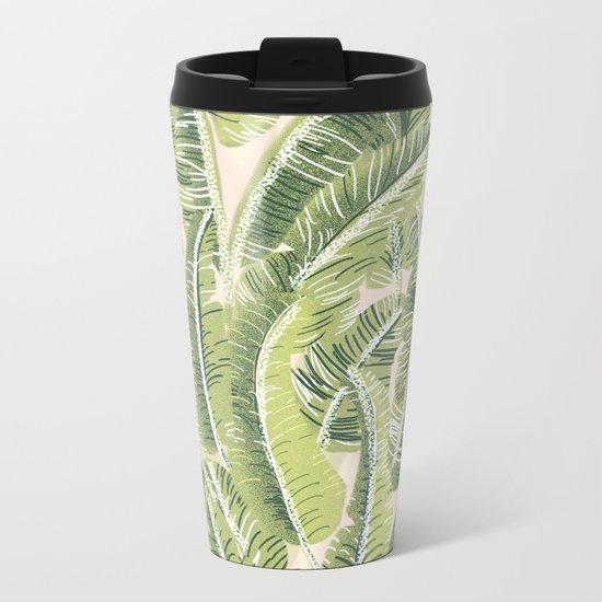 Banana Leaf Pattern Metal Travel Mug