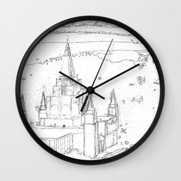 Oakland California LDS Temple Sketch Wall Clock