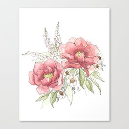 Watercolor Flowers - Garden Roses Canvas Print