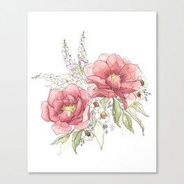 Watercolor Flowers - Garden Roses Canvas Print