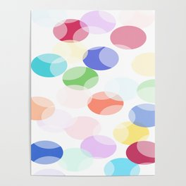 Fun! Pastel colors oval bubbles. Poster