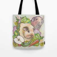pigs Tote Bags featuring Guinea Pigs by Raewyn Haughton