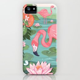 Flamingo and Waterlily iPhone Case
