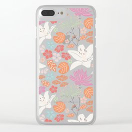 Fresh orange Japanese pond floral Clear iPhone Case