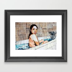The Bath - Layered Paper Collage Framed Art Print