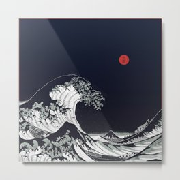Big Blue Wave Little Red Moon Metal Print