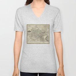 Vintage Map of Edinburgh Scotland (1844) Unisex V-Neck