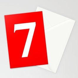 7 (WHITE & RED NUMBERS) Stationery Cards