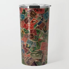 Vintage Postage Stamps Collection Travel Mug