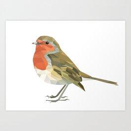 Geometric Robin artwork Bird Art Print
