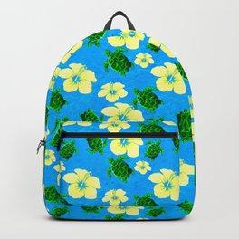 Yellow Hibiscus Hawaiian Pattern Backpack