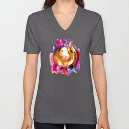 Guinea Pig in Flower Crown Unisex V-Neck
