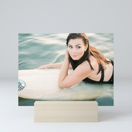Surfer girl | Wanderlust photography of a woman on het surfboard | Coastal wall art. Mini Art Print