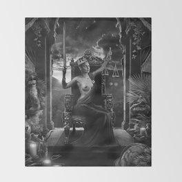 XI. Justice Tarot Card Illustration Throw Blanket