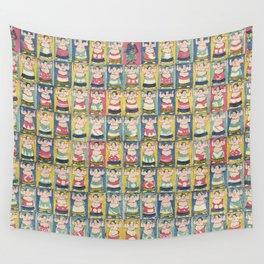 Sumo Wrestlers Japanese Vintage Print Wall Tapestry