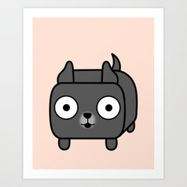Pitbull Loaf - Blue Pitbull with Cropped Ears Art Print