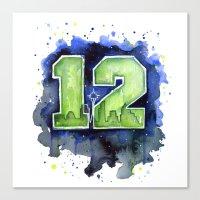 seahawks Canvas Prints featuring 12th Man Seahawks Seattle Go Hawks Art by Olechka