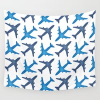 plane Wall Tapestries featuring Plane Pattern by Jody Edwards Art