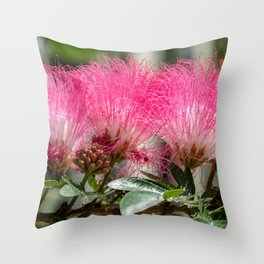 Pink Flower Burst Throw Pillow