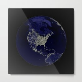 Earth Globe Lights Metal Print