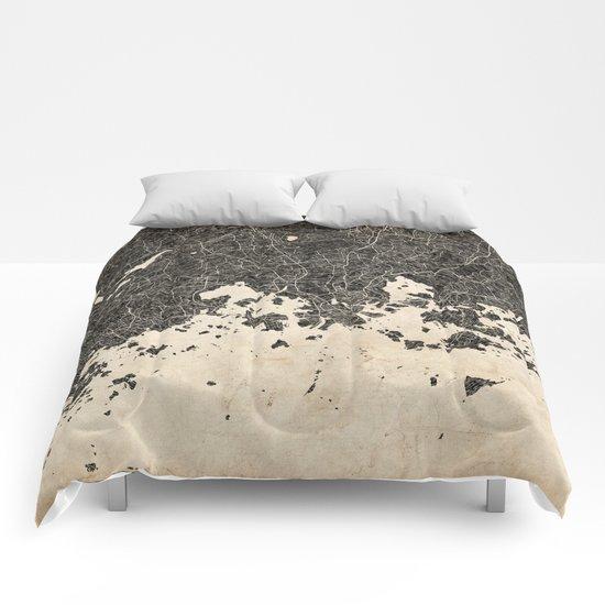 helsinki map ink lines 2 Comforters